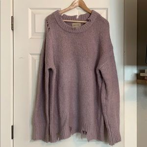 Shopbop Lavender Distressed Sweater